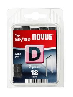 Novus tűzőkapcsok, lapos D 53F horganyzott, D-csúcs 18 mm 600 db