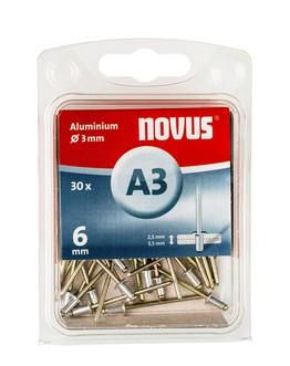 Novus popszegecsek alumínium A3 6 mm 2.5-3.5 30 db