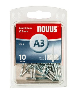 Novus popszegecsek alumínium A3 10 mm 5.0-7.5 30 db