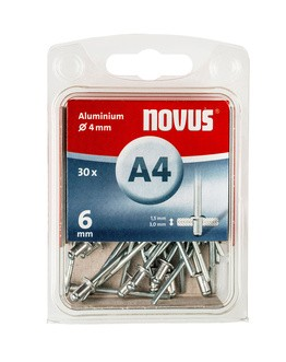 Novus popszegecsek alumínium A4 6 mm 1.5-3.0 30 db
