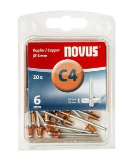 Novus popszegecsek réz C4 6 mm 0.5-3.5 20 db